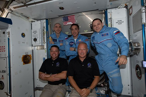 Expedition 63 crew, front row, from left, Bob Behnken and Doug Hurley, back row, from left, Anatoly Ivanishin, Chris Cassidy and Ivan Vagner