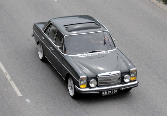 1971 Mercedes 230 CH29999 still on the roads of Denmark -  very much a surprise to see this and it was a bit too quick for my autofocus
