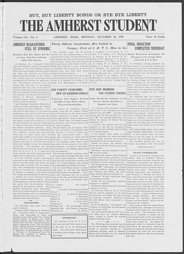 1918 Amherst Student Epidemic Front Page
