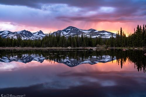 sunset redrocklake indianpeaks mountaudubon mounttoll pawneepeak reflection continentaldivide