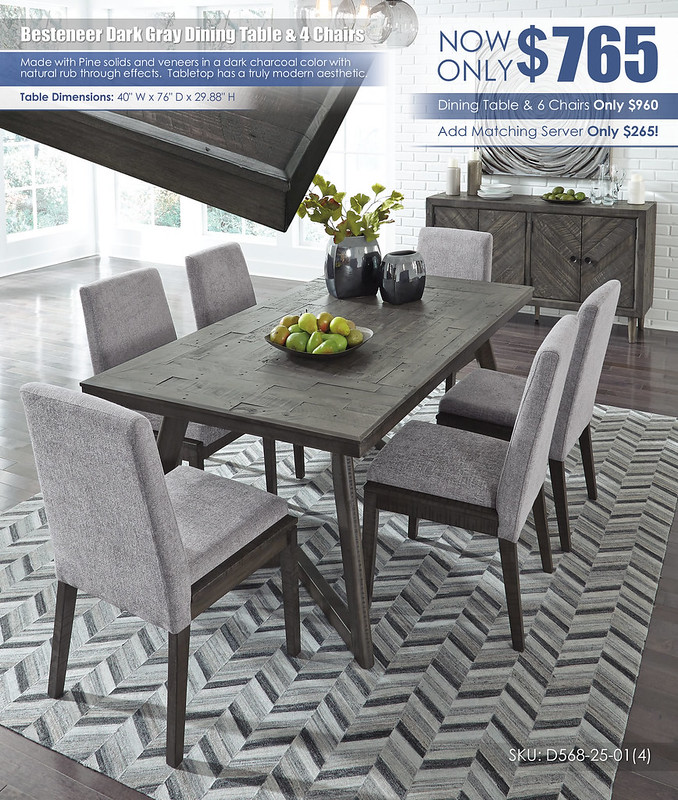 Besteneer Dining Room Table & 4 Chairs_D568