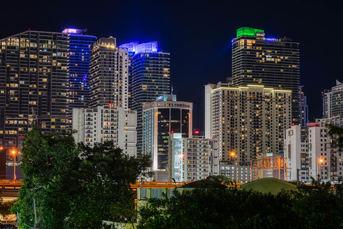 colorful color florida hdr miami nikon nikond5300 outdoor building buildings city cityscape downtown geotagged lights longexposure night outside skyline skyscraper skyscrapers travel tree trees urban vacation starburst