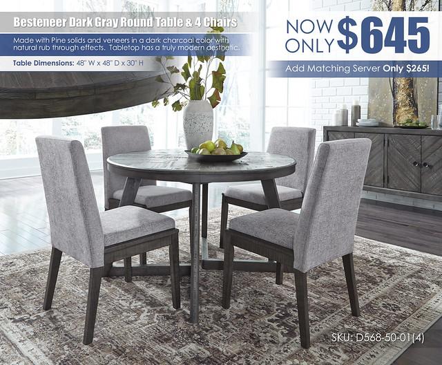 Besteneer Dark Gray Round Table & 4 Chairs_D568