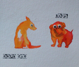 An illustration to accompany The Adventures of Bonnie Boo and Rava the Lava Dog, written by Wheatfield Primary School, P6