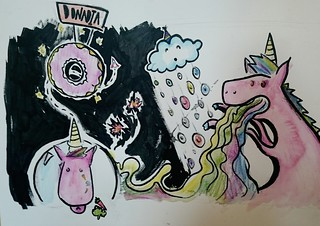 An illustration for majestic Rainbow Sparkles, the Doughnut Napper and Bob the Cloud, written by Victoria Park Primary School, P7