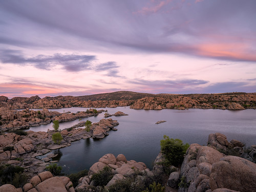 arizona watsonlake sunset water lake rocks granitedells granite clouds