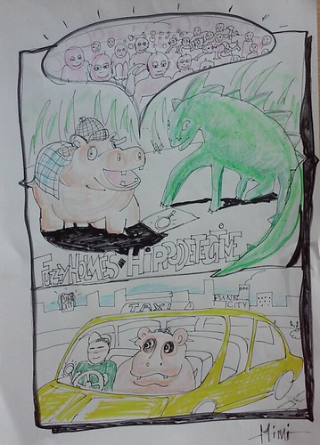An illustration for Fuzzy Holmes, The Hippo Detective, written by St Oliver Plunkett Primary Schools, P6