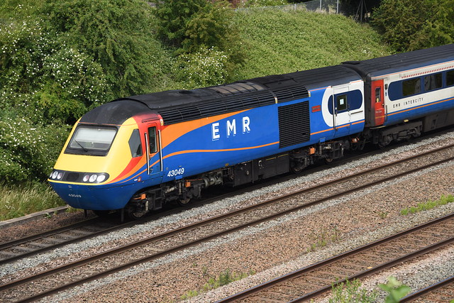 43049 EMR @ EAST MIDLANDS PARKWAY with the 1D23 10:34 ST PANCRAS INTERNATIONAL - NOTTINGHAM , Tuesday 02nd June 2020