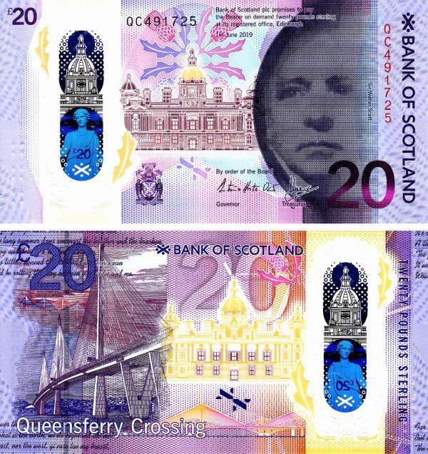 20 libier Škótsko 2019 Bank of Scotland, polymer P132