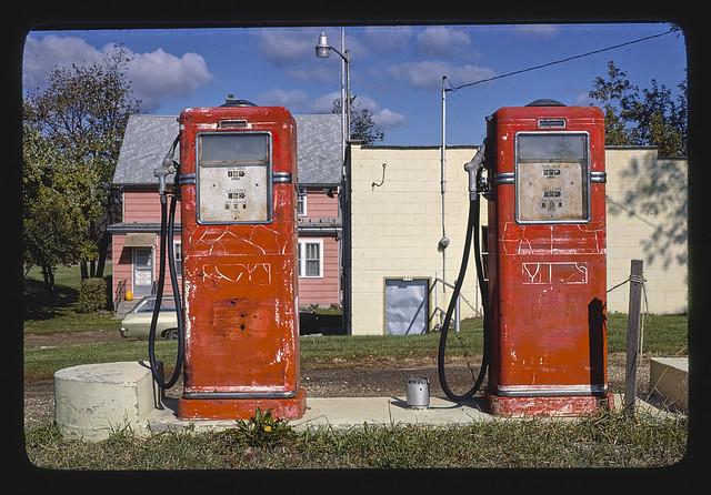 Gas pumps, Rt. 60, Wisconsin (LOC)