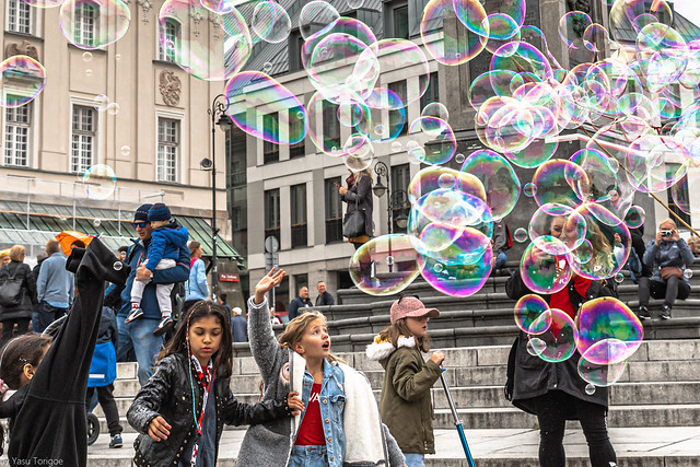 Giant soap bubbles at Castle Square, Old Town, Warsaw, Poland.  242