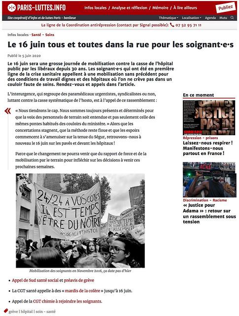 Paris-Luttes.info 5 juin 2020