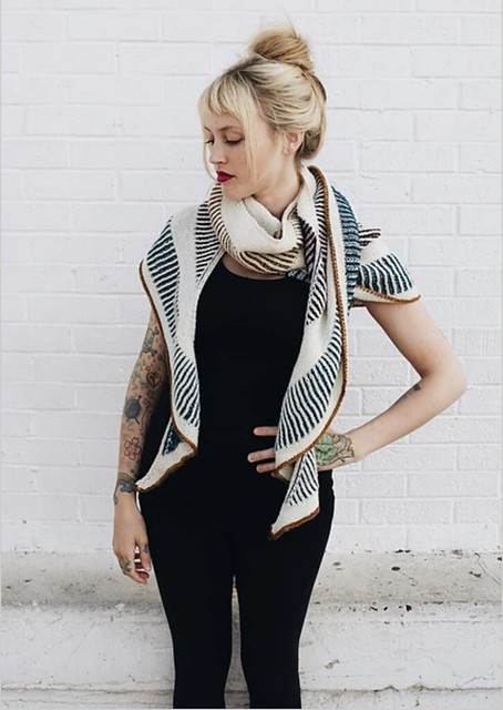 Briochealicious by Andrea Mowry is a crescent shaped shawl pattern that is a great beginner project for brioche newbies!