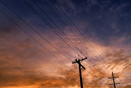 morning dawn sunrise daybreak skies clouds skyscape landscape heavens power lines poles utility linear patterns silhouette contrast pink orange blue violet colorful spectrum wheaton illinois dupagecounty chicagoland summer june abstract minimalism sky diagonal insulators comed commonwealthedison nikond7500 sigma18300 photoshopbyfehlfarben thanksbinexo
