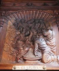 Porte du monastère, chartreuse gothique Santa Maria de Miraflores, XVe siècle, Burgos, Castille-Léon, Espagne.