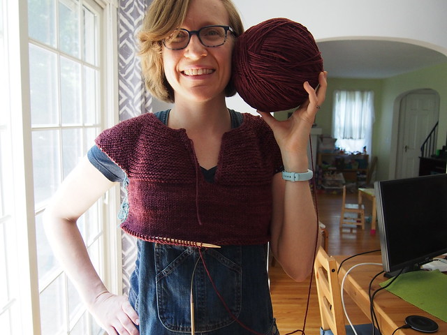 Beginning of a me-sized, long-sleeved version of a vest I've knit twice for M.