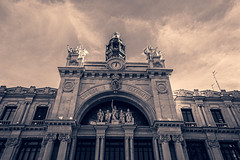 Valencia's The Impressive Main Post Office (Correos) (Monochrome - Tinted) (Fujifilm X70 Compact) (1 of 1)