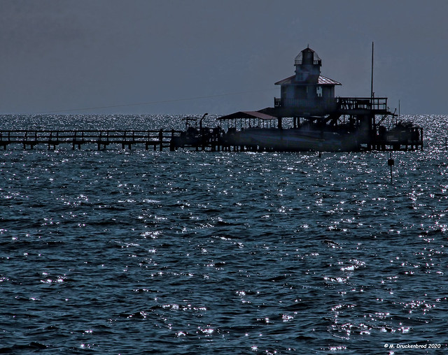 Moonlight over the Lewis Lighthouse in Fleeton Point Virginia