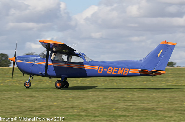 G-BEMB - 1976 build Cessna F172M Skyhawk, arriving on Runway 21L at Sywell during the 2019 LAA Rally