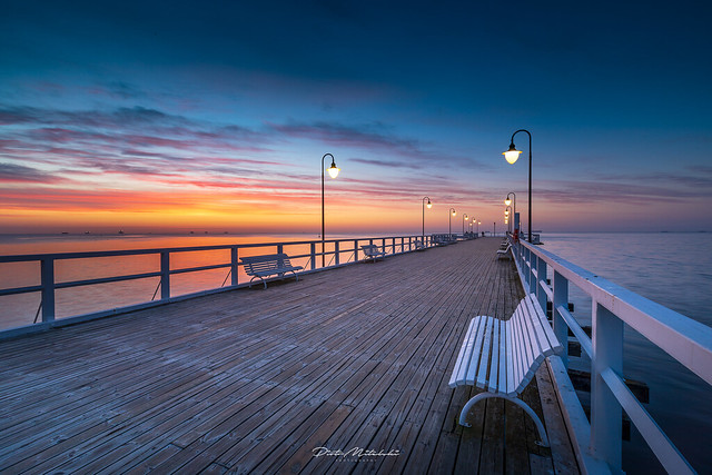 Just before sunrise on the pier