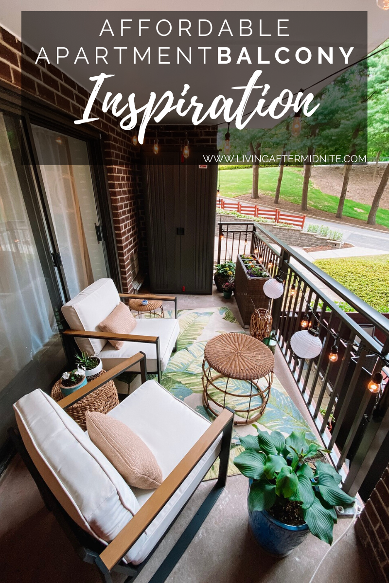 Affordable Apartment Balcony Inspiration | Target Outdoor Furniture | Outdoor Palm Print Rug | Wicker Furniture Inspiration | Outdoor Oasis String Lights | How to Decorate a Small Balcony | Patio Ideas | Deck Inspiration | Outdoor Living Room | Outdoor Decorating Ideas | Terrace | Porch | Patio Renovation | Balcony Remodel