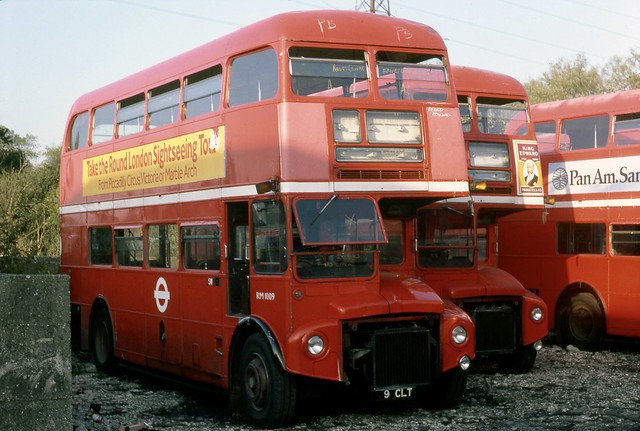 RM1009 (9 CLT) in storage with other Routemasters at Aldenham Works