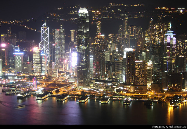 View across Victoria Harbour from the ICC observation deck, Hong Kong, China