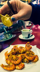 Squeeze The Lemon - Fried Prawn Nibbles - La Boatella Tapas Bar (Cross Process) (Fujifilm X70 Compact) (1 of 1)