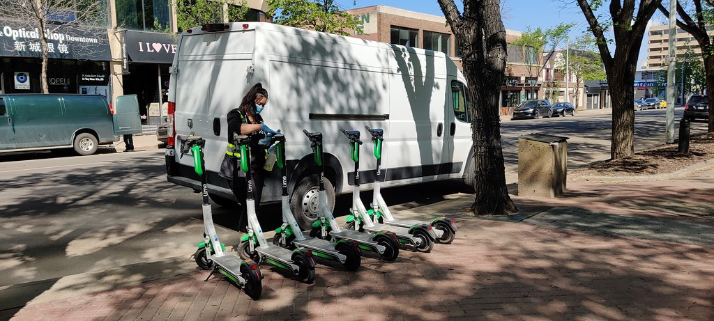 E-scooters being cleaned
