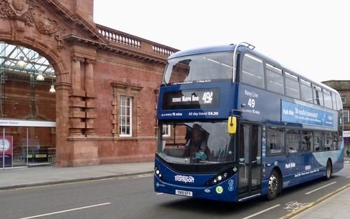 YN18 EFY 'Nottingham City Transport' (NCT) No. 487 'Navy Line 49'. Scania N280UD / Alexander Dennis Ltd. Enviro 400CBG City  on Dennis Basford's railsroadsrunways.blogspot.co.uk'