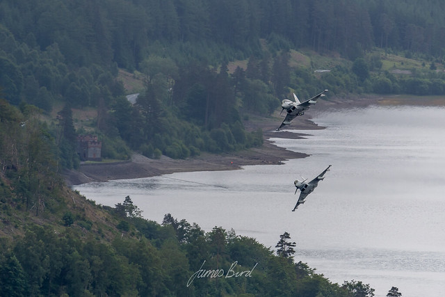APOLLO 21 Typhoon T3 and APOLLO 22 Typhoon FGR4 pass over Thirlmere in the Lake District