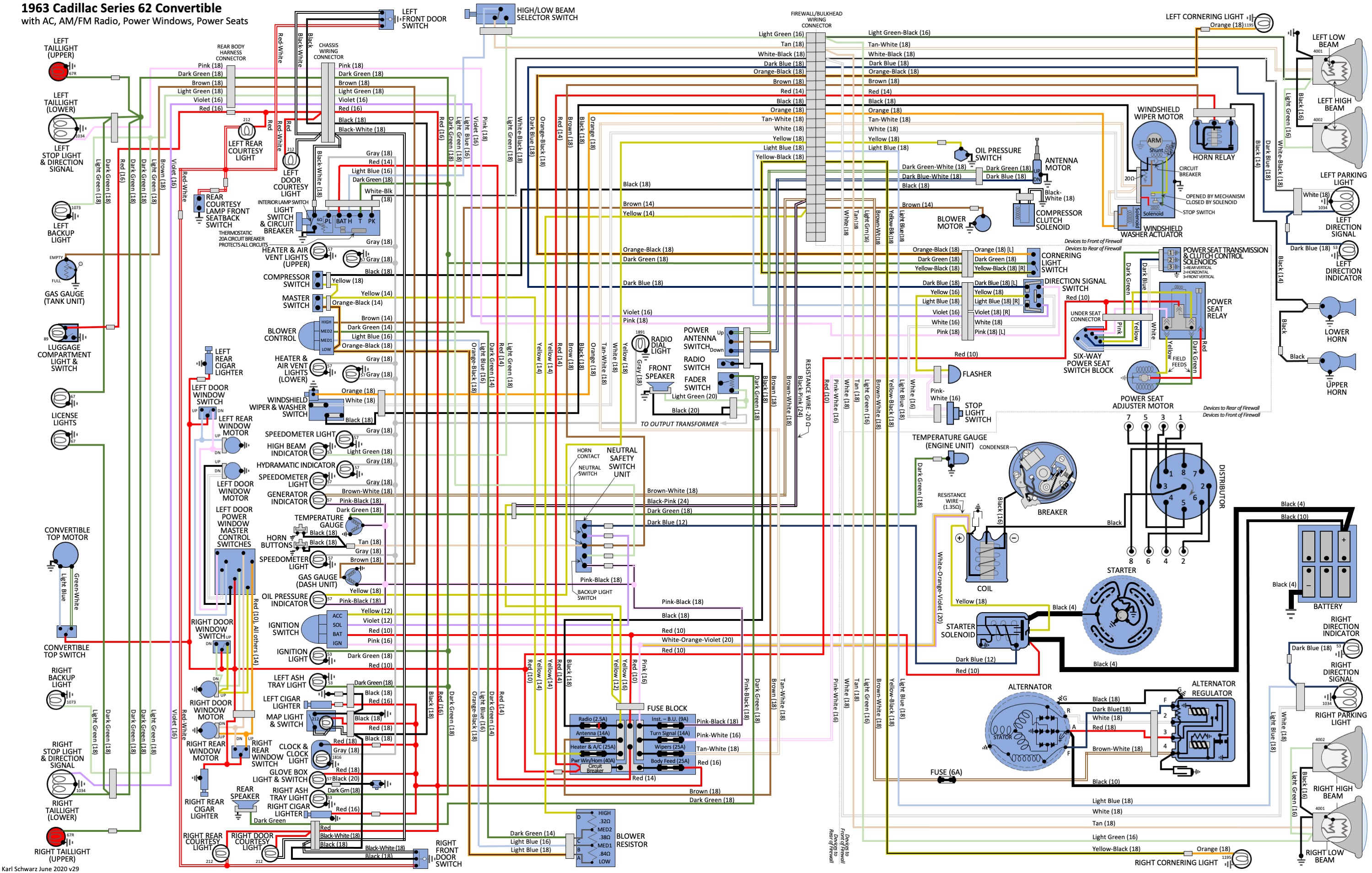 Color Wiring Diagram - 1963 Series 62 Convertible, AC, AM ...