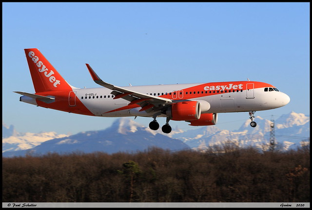 AIRBUS A320 251N easyJet G-UZLJ 9171 Genève février 2020
