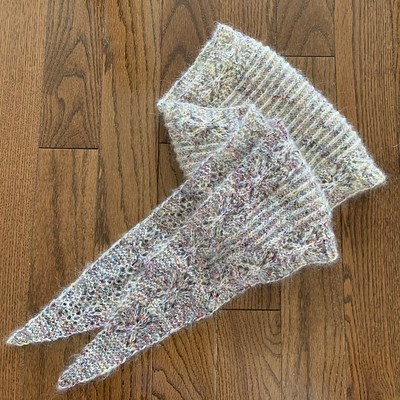 My Venezia Shawl by Joji Locatelli is finished but not yet blocked! Knit using Malabrigo Mechita in Moon Trio Full and Drops Kid Silk in Off White.