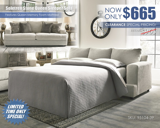 Soletren Stone Queen Sleeper Sofa Clearance_95104-39