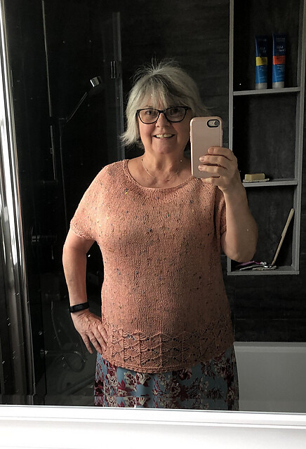 Lise looks great in the Join Top that she test knit using Bergere de France Bigarelle!