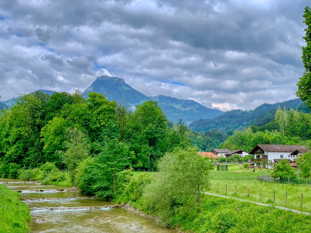 Auerbach creek near Oberaudorf with Wildbarren mountain in Bavaria, Germany