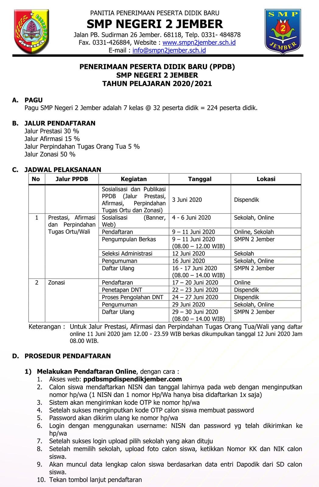 Pengumuman Hasil Seleksi PPDB SMP Negeri Kab Jember 2020 2021