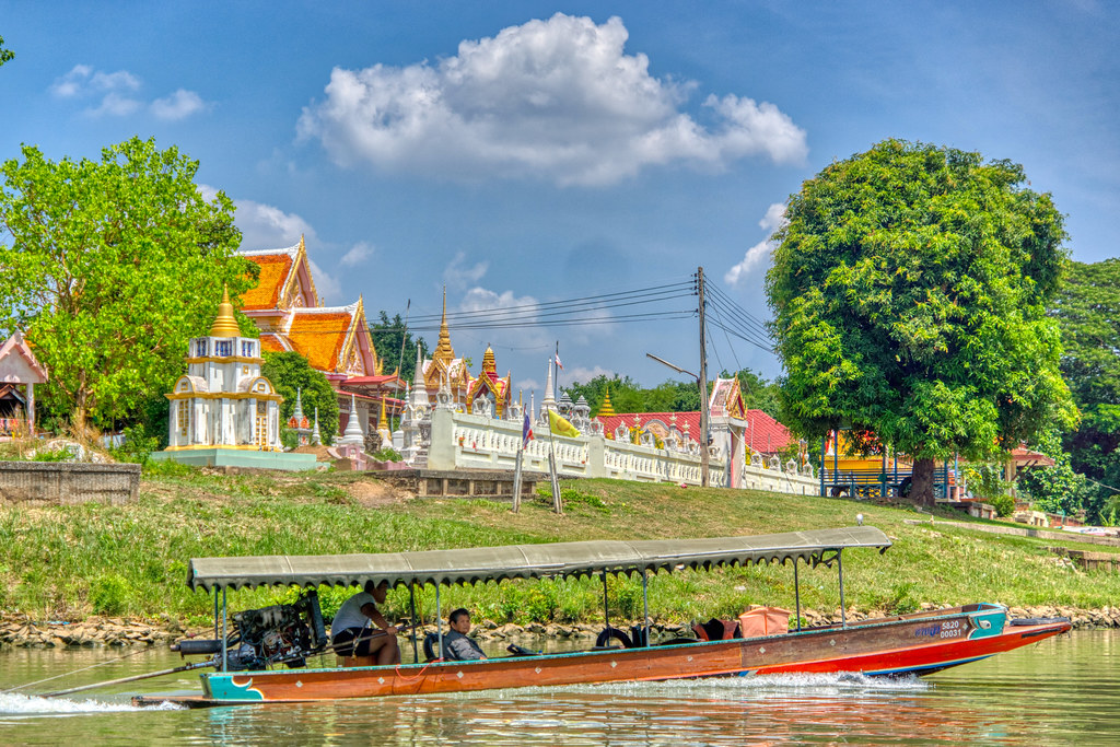 Longtail boat on the Chao Phraya river surrounding Ayutthaya, Thailand