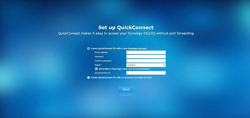 Synology DS220j - DSM - Setup Quick Connect