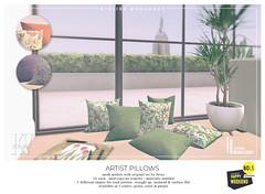 Atelier Burgundy + KraftWork . Artist Pillows