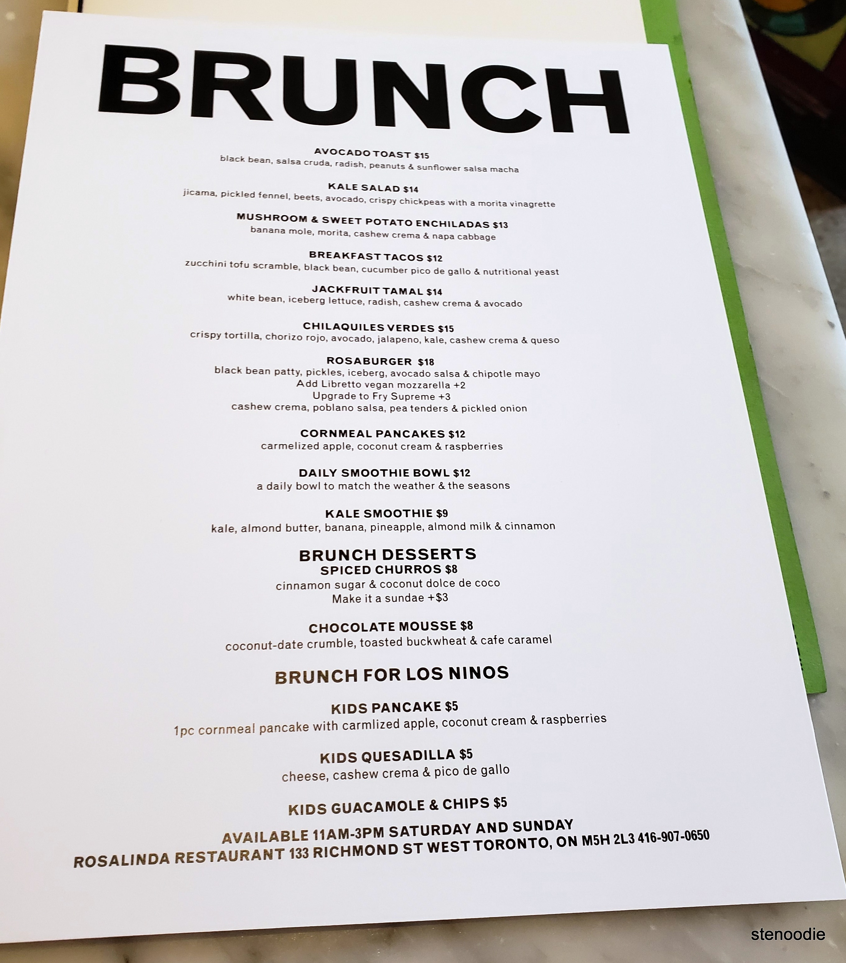 Rosalinda Restaurant brunch menu and prices