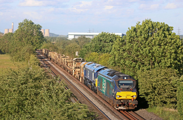 DRS 68001 with 66091 in shiny new DRS livery passes Weston On Trent near Castle Donington on 5.6.20 with 6K97 1923 Toton North Yard to Crewe Bas Hall S.S.M. departmental