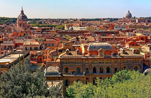 rome villamédicis italie paysage vueparlafenêtre ville capitale maisons églises ciel bleu
