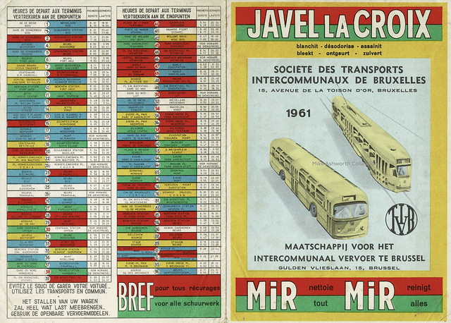 STIB-MIVB Brussels / Bruxelles / Brussel transport map - carte - kaart 1961