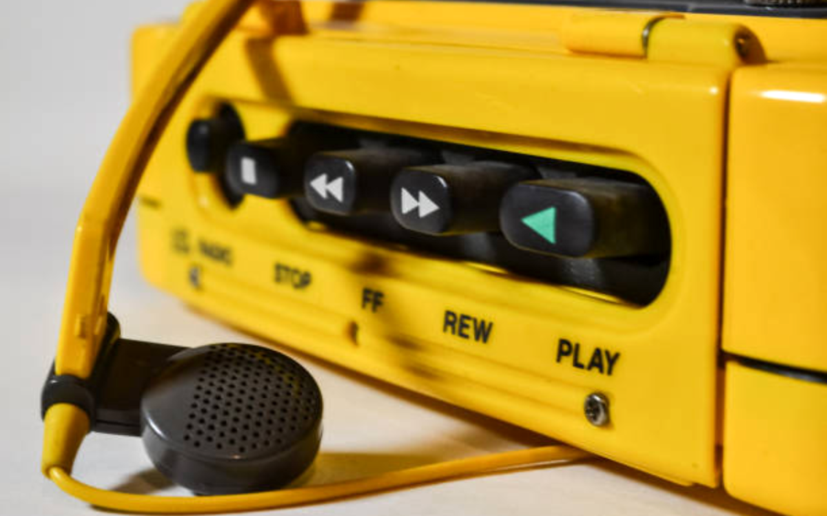 Close-up of a yellow Walkman