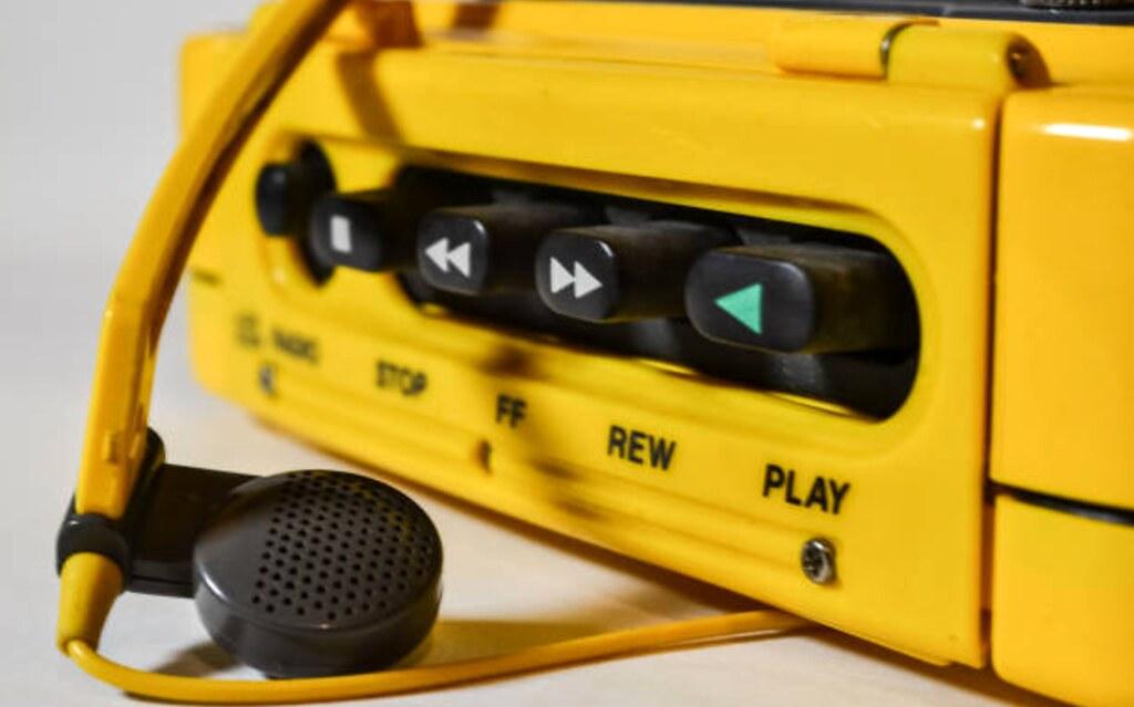 Close-up of a yellow Walkman
