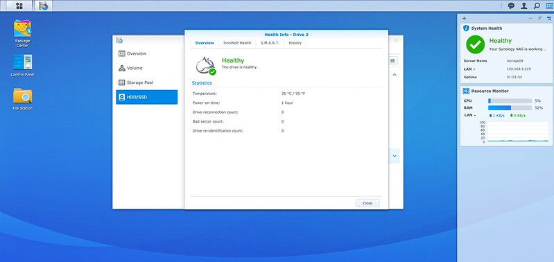 Synology DSM - Storage Manager - Drive Overview