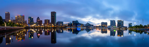 baltimore maryland city panorama dawn sunrise clouds cloudy color neon reflections innerharbor urban lights moodysunrise atmosphere sony tamron waterscape bluehour baltimorecity