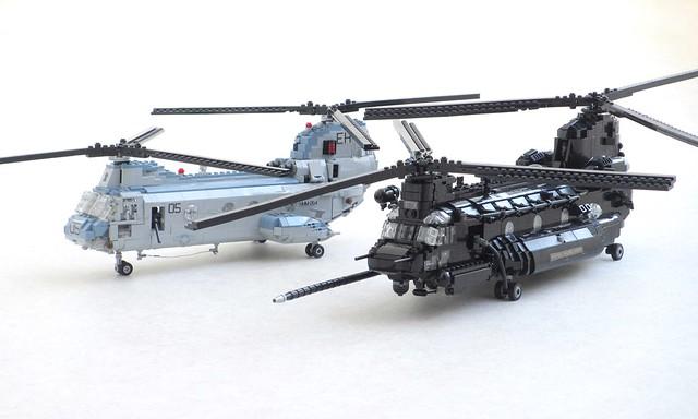 CH-46E Sea Knight and MH-47E Chinook